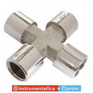 Крестовое пневматическое соединение с внутренней резьбой 1/4 PT-1864 Intertool