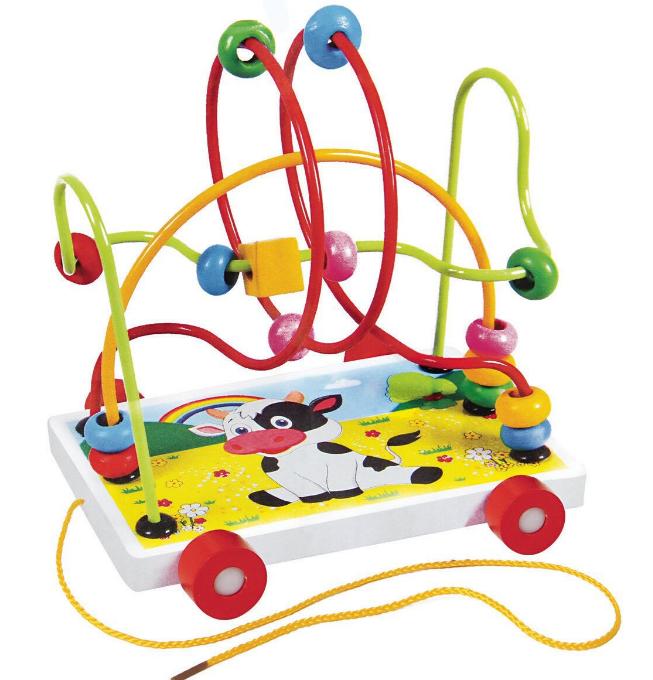 Деревянная игрушка Каталка MD 0320-4 Корова