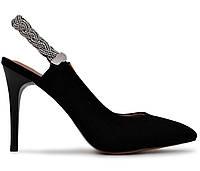 Женские натуральные замшевые черные летние туфли на высоком каблуке с открытой пяткой Польша