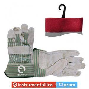 Перчатка замшевая манжет обрезиненный 120 пар/ящ SP-0151W Intertool цена за ящик