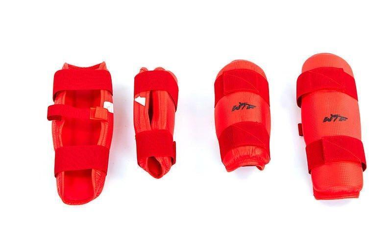 Защита голени и предплечья для тхэквондо WTF набор красный