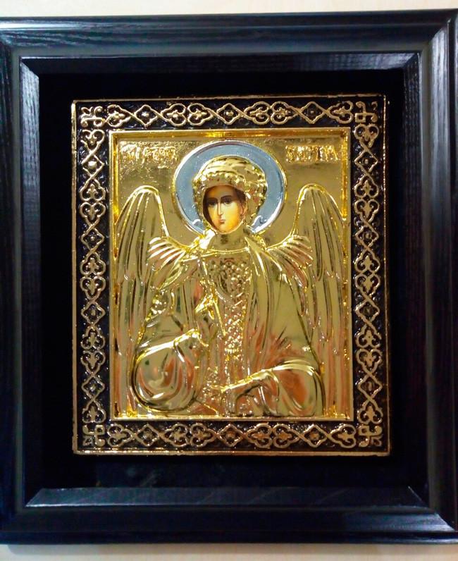 Ангел Хранитель икона в ризе с позолотой ризы 34х37см