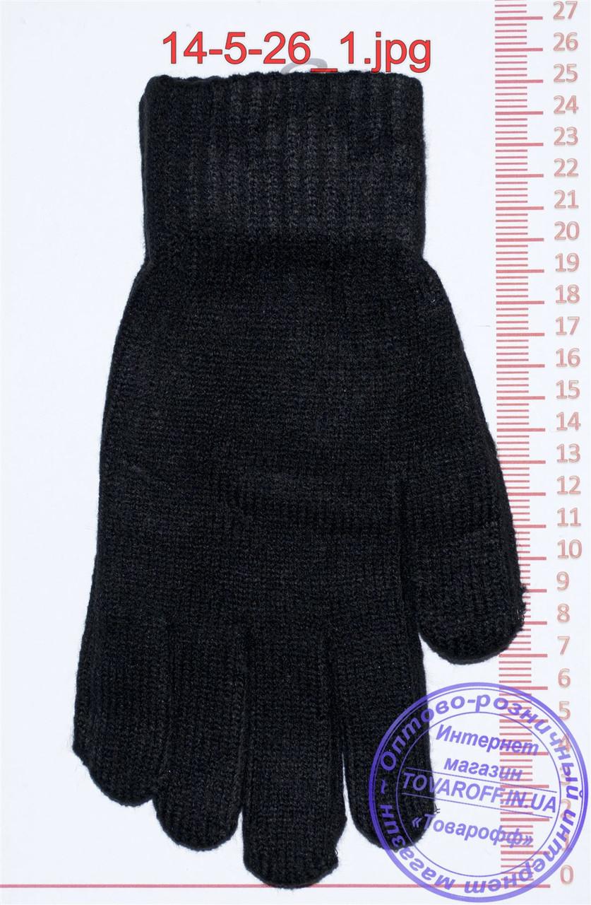 Мужские перчатки вязаные  - Черные - 14-5-26