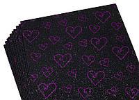 Фоамиран с глитером  принт сердечки  фиолетовый с черным