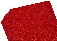 Фоамиран красный с глитером, переливается разными цветами