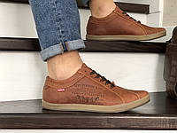 Мужские кроссовки в стиле Levi's, кожа, коричневые *** 40 (26,5 см)