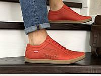 Мужские кроссовки в стиле Levi's, кожа, красные *** 40 (26,5 см)