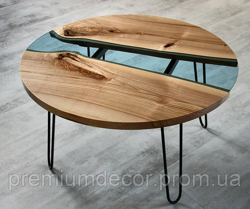 Стол из массива дерева со стеклом эпоксидной смолой река лофт мебель дуб ясень орех тополь, фото 2
