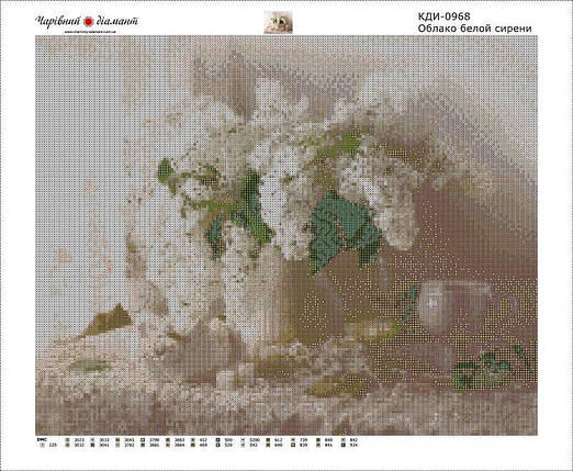 КДИ-0968 Набор алмазной вышивки Облако бело-розовой сирени, фото 2