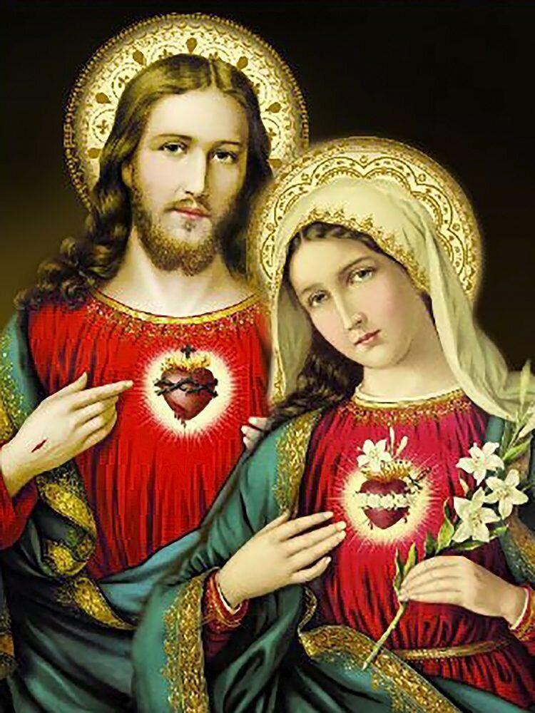 КДИ-0975 Набор алмазной вышивки Икона Святые сердца Иисуса и Марии