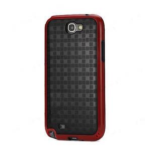 "Чехол TPU + пластик для Samsung Galaxy Note II N7100, ""Glossy Square"" черный с красным"