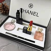 Женский Подарочный набор Chanel 5в1 (Духи 2 вида, Помада, Тушь, Карандаш), фото 1