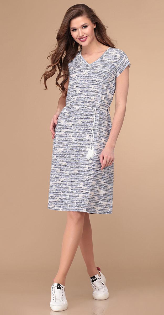 Платье Линия-Л-1796 белорусский трикотаж, сине-белые узоры, 44