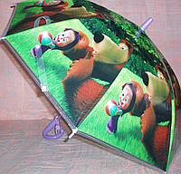 Зонт детский полуавтомат трость МАША И МЕДВЕДЬ
