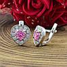 Срібні сережки Кришталеве серце розмір 9х9 мм вставка рожеві фіаніти вага 2.95 г, фото 2