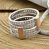 Серебряное кольцо двойное с золотом 850БС вставка белые фианиты вес 7.1 г размер 18.5, фото 2