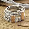 Серебряное кольцо двойное с золотом 850БС вставка белые фианиты вес 7.1 г размер 18.5, фото 3