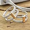 Серебряное кольцо двойное с золотом 850БС вставка белые фианиты вес 7.1 г размер 18.5, фото 4