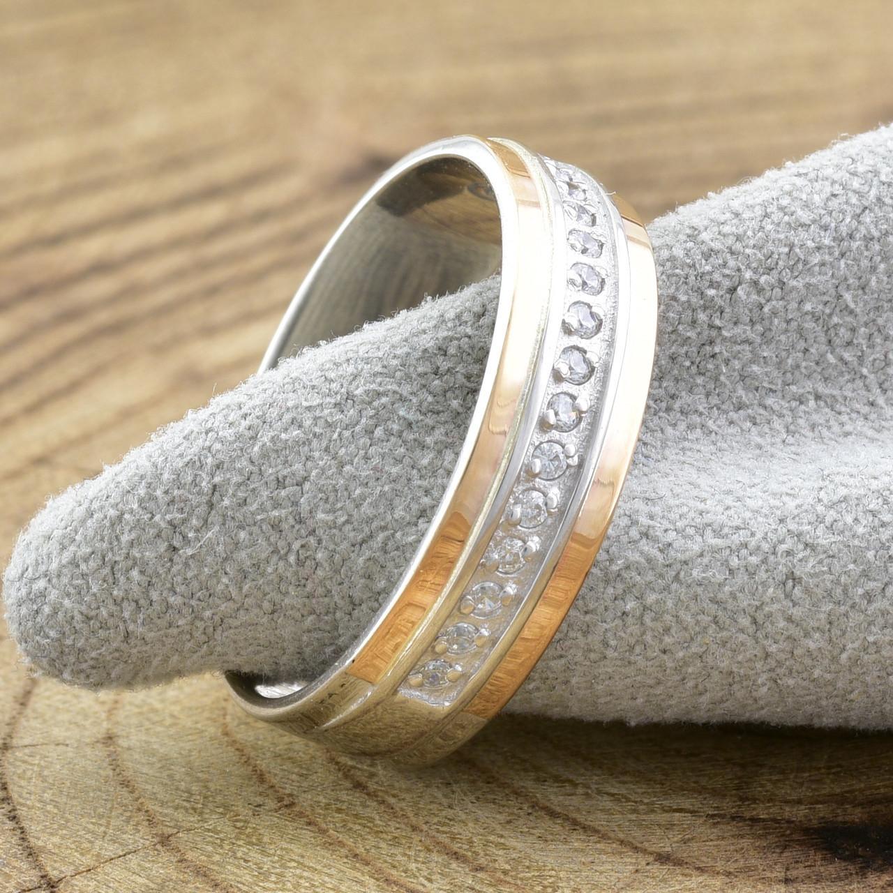 Серебряное кольцо с золотом Вирджиния вставка белые фианиты вес 3.5 г размер 18.5