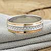Серебряное кольцо с золотом Вирджиния вставка белые фианиты вес 3.5 г размер 18.5, фото 2