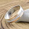 Серебряное кольцо с золотом Вирджиния вставка белые фианиты вес 3.5 г размер 18.5, фото 4