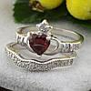 Серебряное кольцо двойное Сердце на ладонях вставка красные фианиты вес 4.65 г размер 17, фото 2