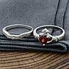 Серебряное кольцо двойное Сердце на ладонях вставка красные фианиты вес 4.65 г размер 17, фото 3