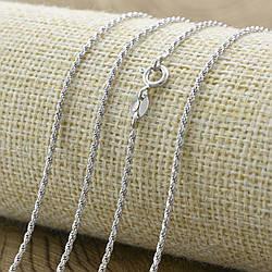 Серебряная цепочка родированная Лунная верёвочка ширина 1 мм  длина 40