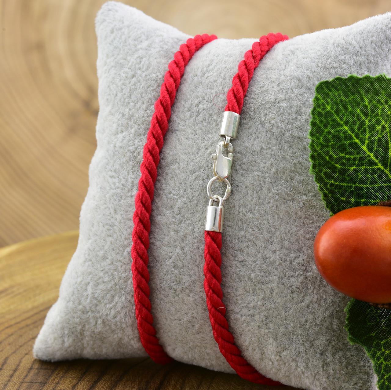 Шнурок плетённый шелковый цвет красный длина 50 см ширина 3 мм вес серебра 0.95 г