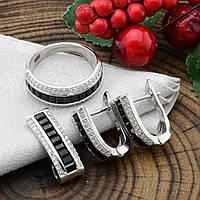 Серебряный набор Чёрная пантера кольцо размер 17 + серьги 16х8 + кулон 20х8 мм вставка черные фианиты