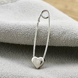 Серебряная булавка з сердечком размер 27х6 мм вес 0.86 г