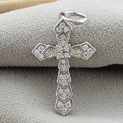 Серебряный крест Идилика размер 34х18 мм вставка белые фианиты вес 2.25 г