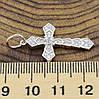Серебряный крест Идилика размер 34х18 мм вставка белые фианиты вес 2.25 г, фото 3