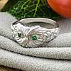 Кольцо серебряное женское Совушка вставка зелёные фианиты размер 18, фото 3