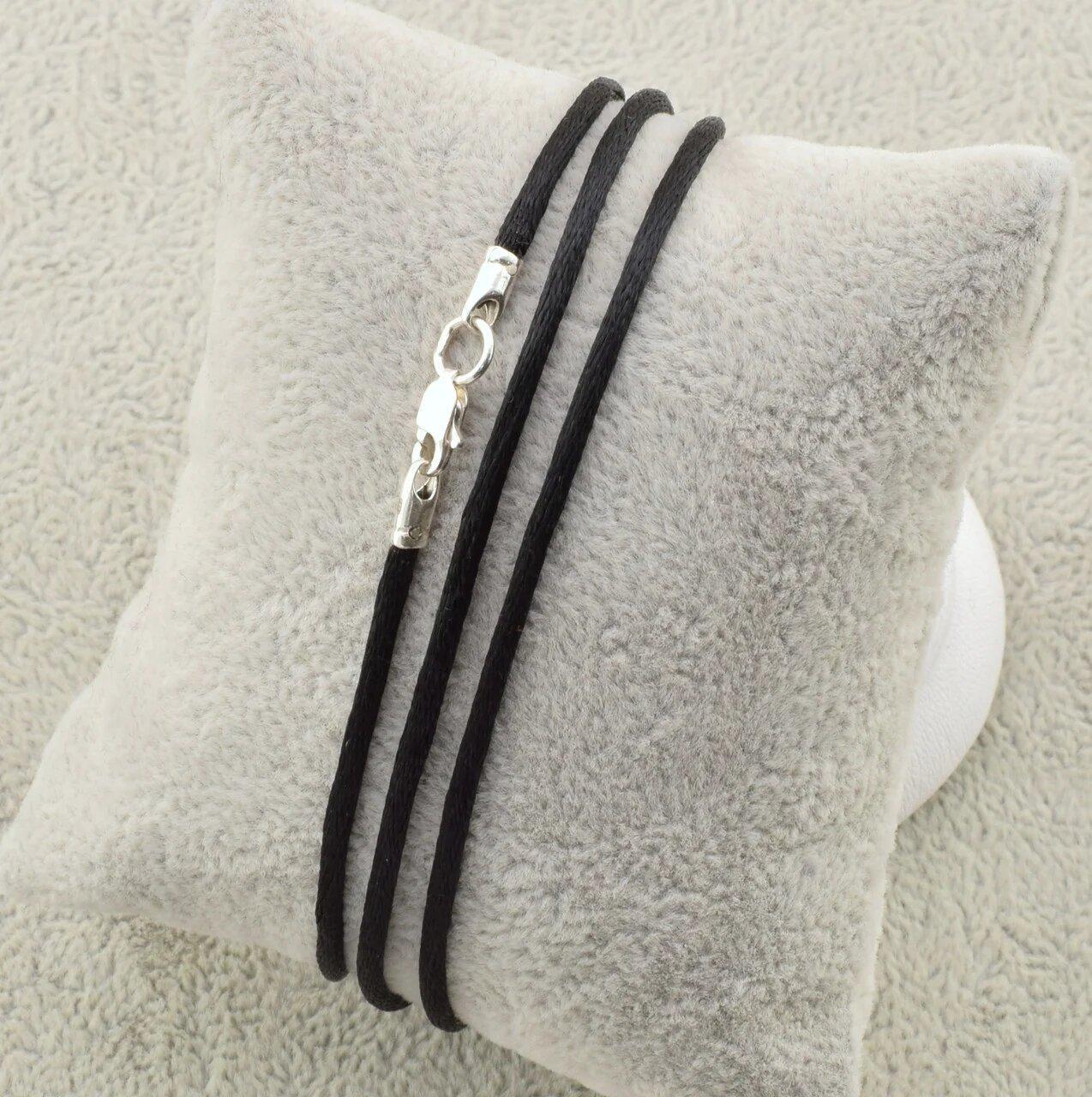 Шнурок шелковый цвет черный длина 50 см ширина 2 мм вес серебра 0.7 г