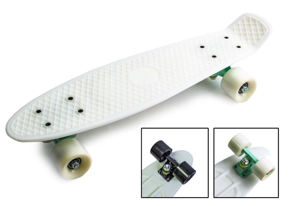 "Скейт скейтборд пенни борд 22"" белый"