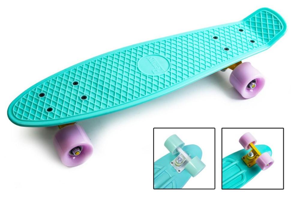 "Скейт скейтборд пенни борд 22"" бирюзовый"