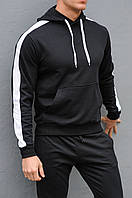 Черная спортивная кофта с лампасами