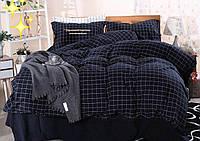 Комплект постельного белья Клетка Темная  Бязь Ранфорс GOLD евро