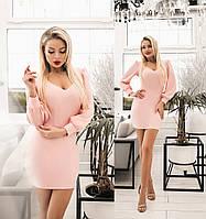 Стильне жіноче плаття міні (4 кольори) ТК/-1238 - Пудровий, фото 1