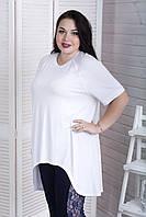 Стильная футболка в бохо стиле для полных девушек белая