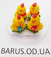 Пасхальное украшение из мастики  набор цыплята 4 шт