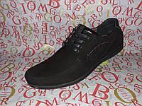 YDG Bellini мужские фирменные замшевые туфли мокасины на шнурках чёрные