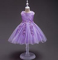 Платье сиреневое короткое пышное нарядное для девочки, фото 1