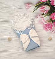 """Велюровый конверт-одеяло """"Рюша"""" на выписку из роддома"""