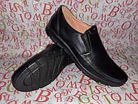 YDG Bellini мужские фирменные кожаные туфли на резинке чёрные
