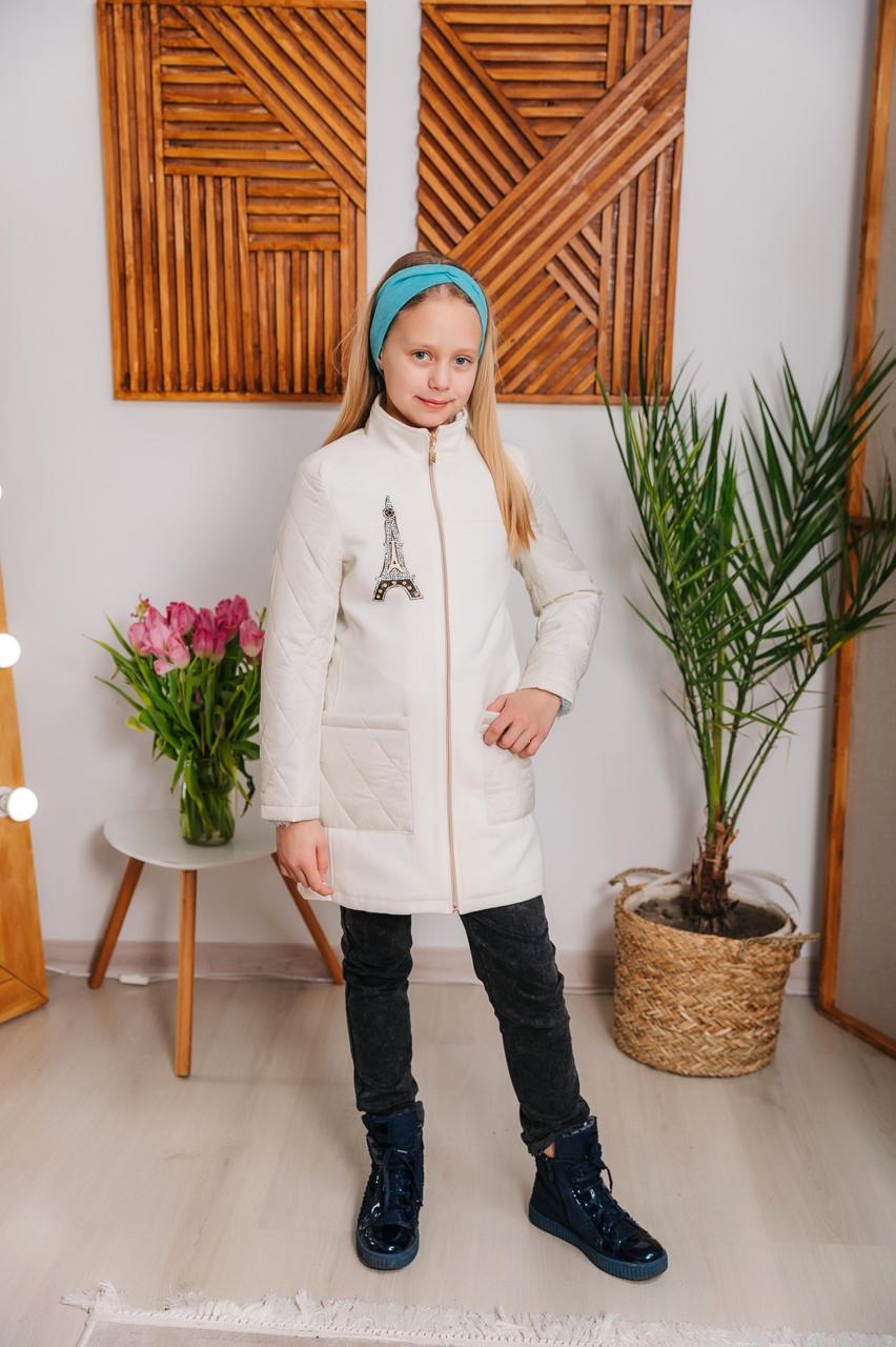 Детское пальто для девочки Алиса, размеры 122-146