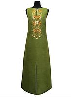 Вышитое летнее платье Смерека зеленый лен 42 -52 р