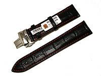 Ремешок кожаный Hightone с красной строчкой и застежкой бабочкой нержавейка