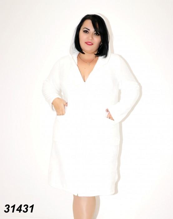 Халат белый женский с капюшоном на молнии 50,52,54,56